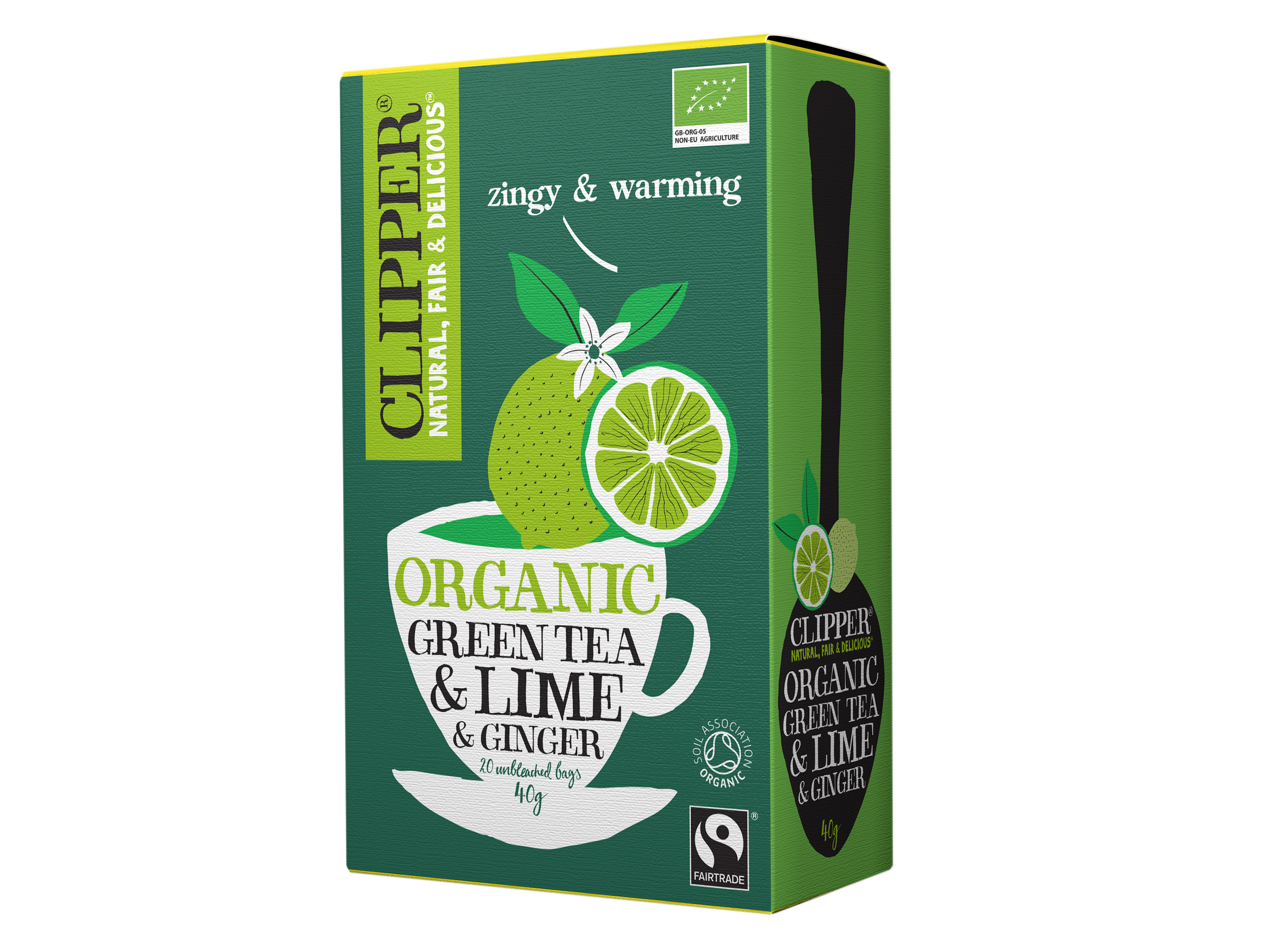 Clipper Green Tea Lime & Ginger, 20 poser økologisk te