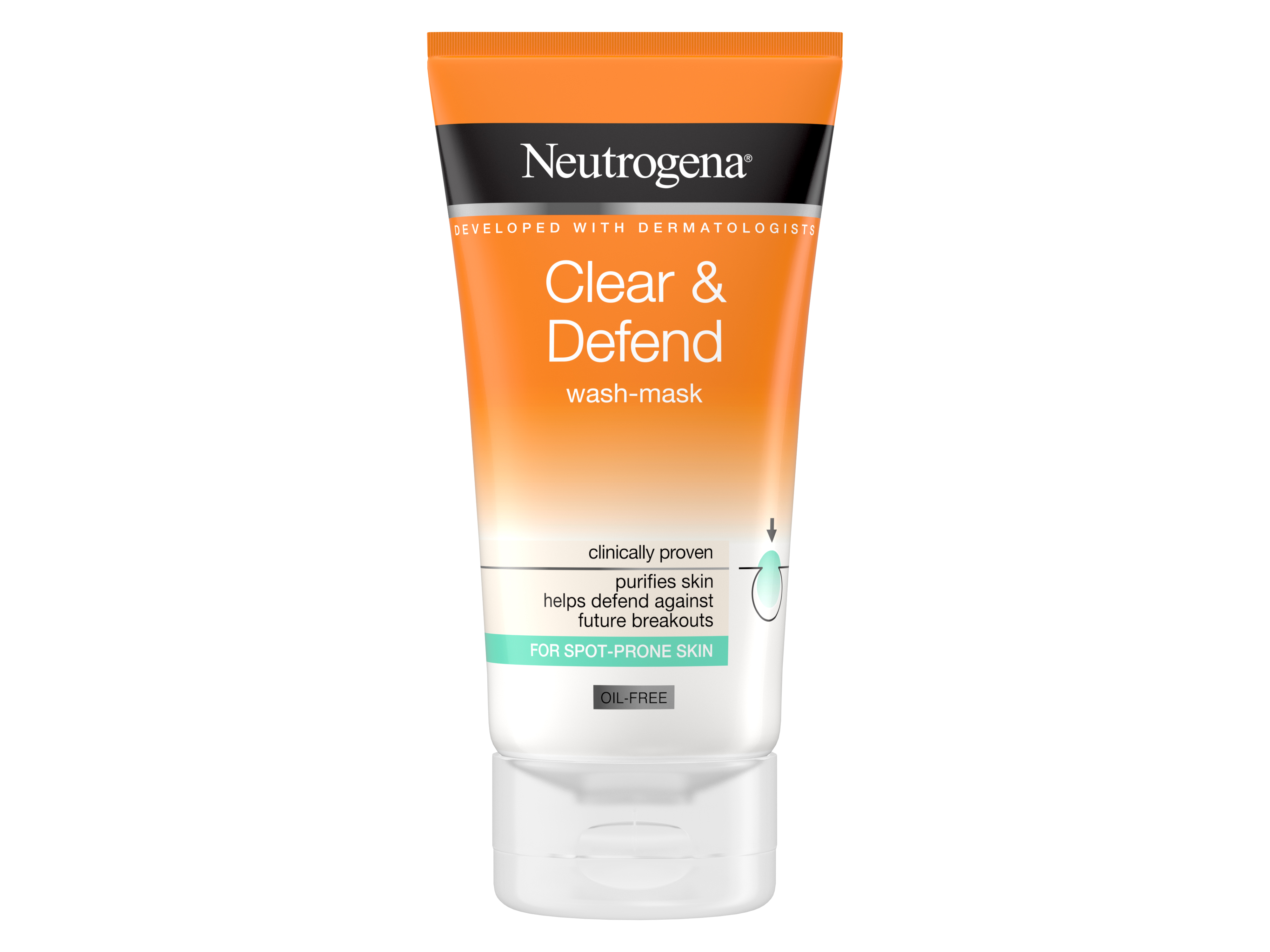 Neutrogena Clear & Defend 2 in 1 Wash Mask, 150 ml